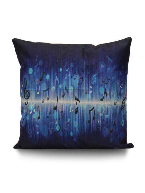 ملاحظات الموسيقى طباعة غطاء وسادة الزخرفية - ازرق غامق 45 * 45CM