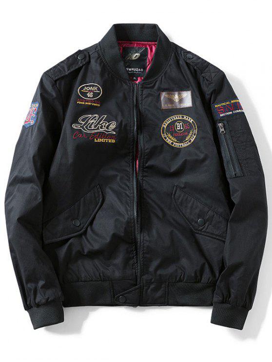 جاكيت الطيار بجيب تصميم رقعة قماشية - أسود L