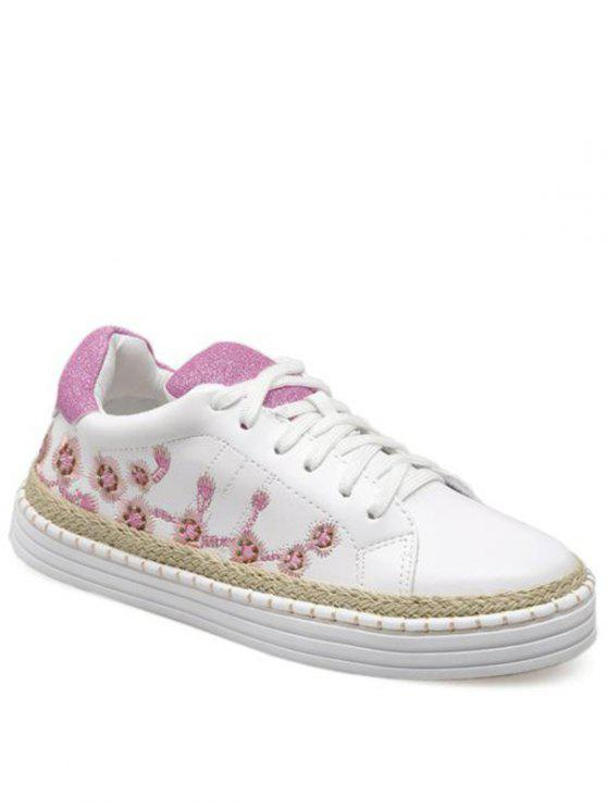 women Faux Leather Embroidery Athletic Shoes - PINKISH PURPLE 38