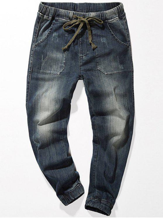 hot Drawstring Faded Jogger Jeans - BLUE 34