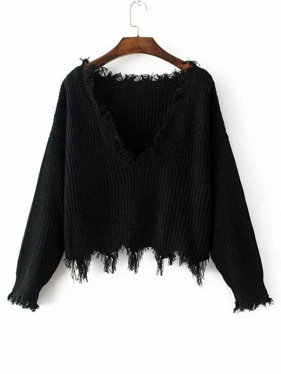 outfits Loose Ripped V Neck Sweater - BLACK ONE SIZE
