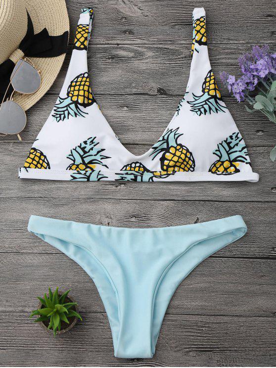 Set di Bikini a Taglio Alto con Stampa di Ananas - Verde chiaro S