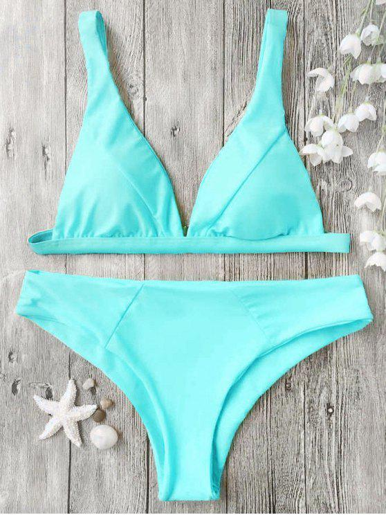 unique Padded Plunge Bikini Top and Bottoms - CYAN L