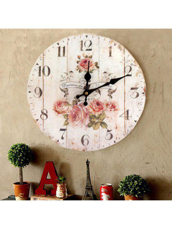 ساعة حائط من الخشب مزينة بأزهار - أبيض 30 * 30CM