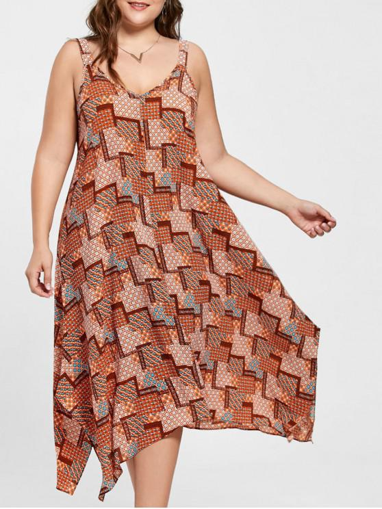 519b051032a Plus Size Spaghetti Strap Geometric Print Handkerchief Dress - Orange 3xl