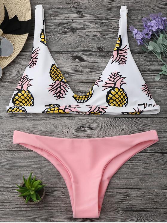Conjunto de Bikini de Corte Alto de Impresión de Piña - Rosado S