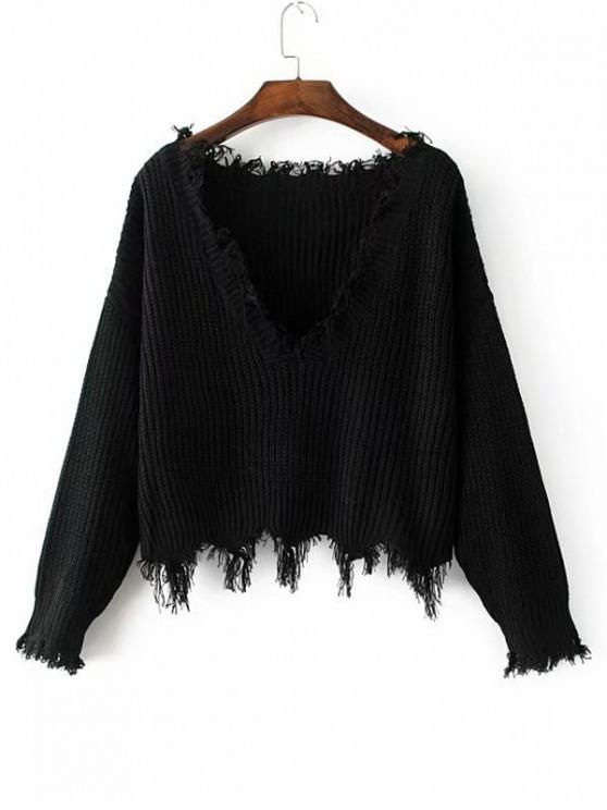 Hot Loose Ripped V Neck Sweater   Black by Zaful