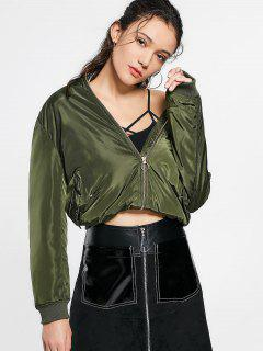 Zip Up Invisible Pockets Bomber Jacket - Army Green S