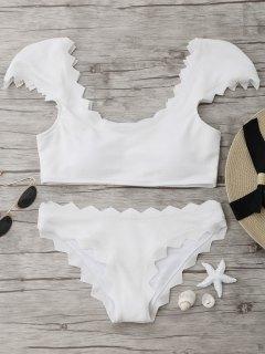 Textured Muschel Bikini Set - Weiß M