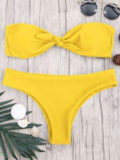 Gepolstertes Gewebtes Bandeau-Bikini-Set - Gelb L