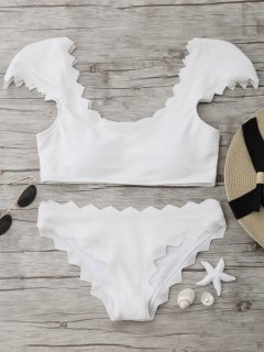 Textured Scalloped Bikini Set - White L