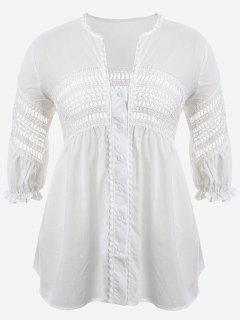 Crochet Panel Plus Size Laser Cut Blouse - White 4xl