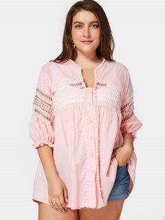 Crochet Panel Plus Size Laser Cut Blouse - Pink 3xl