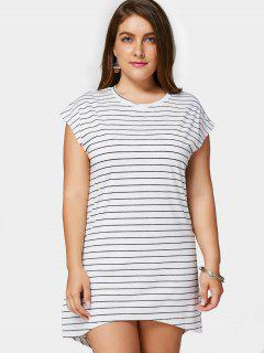 Striped High Low Plus Size Dress - White 2xl