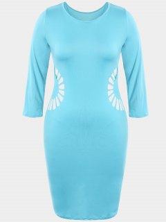 Plus Size Cutout Bodycon Dress - Lake Blue 3xl