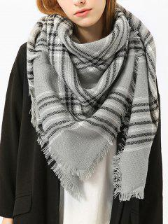 Fringed Brim Plaid Shawl Scarf - Gray