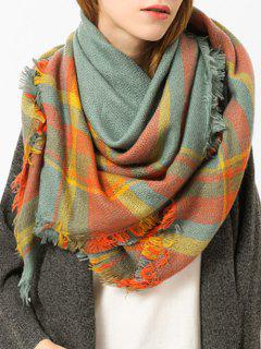 Fringed Brim Plaid Shawl Scarf - Bright Orange