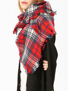 Fringed Brim Plaid Shawl Scarf - Red