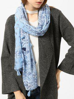 Tassels Paisley Pattern Vintage Shawl Scarf - Light Blue