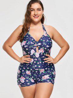 Plus Size Floral Halter One Piece Swimsuit - Blue 3xl