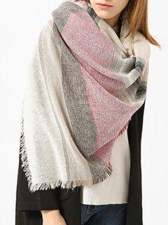 Fringed Brim Plaid Cotton Blended Scarf - White