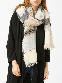 Fringed Brim Plaid Cotton Blended Scarf - Palomino