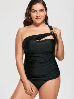 One Shoulder Plus Size Tankini Set - Black Xl