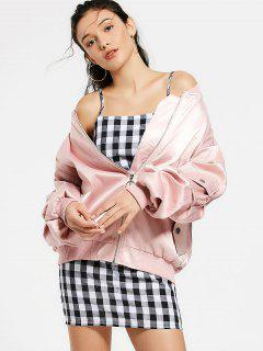 Zip Up Pockets Drop Shoulder Jacket - Pink