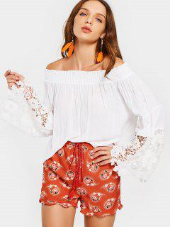 Off Shoulder Lace Panel Flare Sleeve Blouse - White