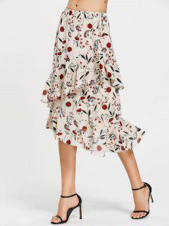 Floral Print Ruffle Hem Asymmetric Skirt - Floral S