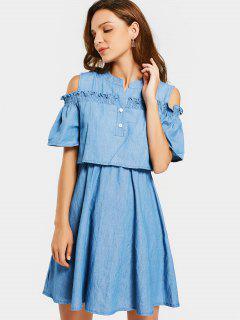 Cold Shoulder Ruffles A Line Dress - Denim Blue M