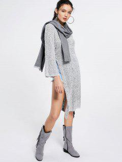 High Slit Longline Pullover Sweater - Gray M