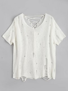Ripped Sheer Lace Up Knitwear - White