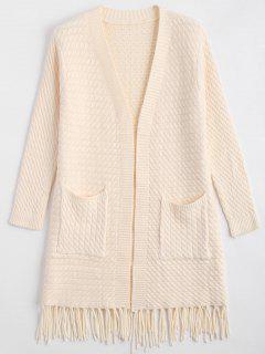 Fringe Cable Knit Cardigan - Off-white