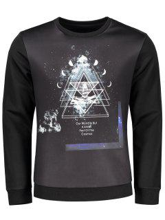 Crew Neck Space Print Sweatshirt - Black Xl