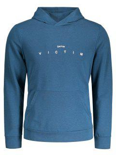 Letter Kangaroo Pocket Hoodie - Lake Blue M