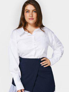 V Back Metal Ring Plus Size Shirt - White 4xl