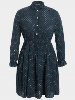 Plus Size Bow Polka Dot Dress - Cadetblue 3xl