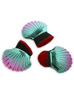 3Pcs Ocean Shell Design Multipurpose Makeup Brushes Set - Red And Green