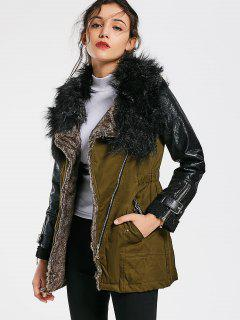 Color Block Faux Fur Collar Long Sleeve Coat - Army Green M
