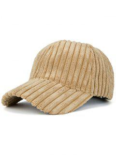 Winter Warm Faux Fur Striped Baseball Hat - Khaki