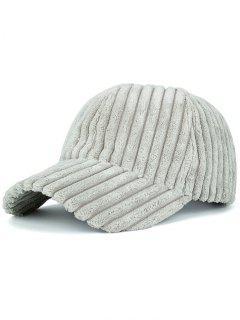 Winter Warm Faux Fur Striped Baseball Hat - Light Gray