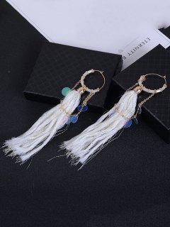Round Piece Link Chain Fringed Drop Earrings - White