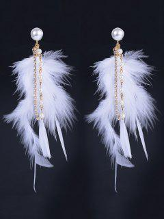 Faux Pearl Rhinestone Feather Drop Earrings - White