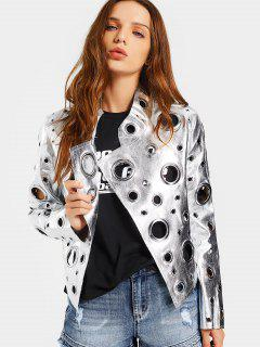 Hollow Out Ring Embellished Shiny Jacket - Silver M