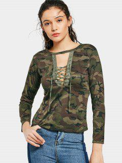Lace Up Cut Out Camouflage Tee - Army Green M