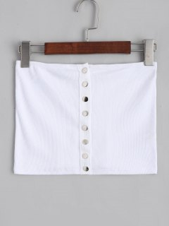 Ribbed Button Up Tube Top - White S