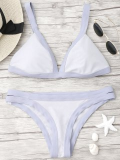 Plunge Bicolor Banded Bikini - Light Purple M
