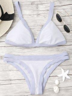 Plunge Bicolor Banded Bikini - Light Purple S