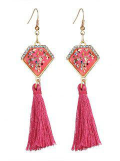 Faux Gem Tassel Geometric Hook Earrings - Pink